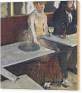 In A Cafe Wood Print by Edgar Degas