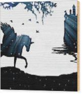 In A Dream, Unicorn, Pegasus And Castle Modern Minimalist Style Wood Print