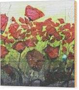 Fields Of Poppies Wood Print