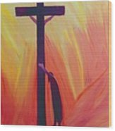 In Our Sufferings We Can Lean On The Cross By Trusting In Christ's Love Wood Print by Elizabeth Wang