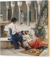 In The Courtyard Of The Harem Wood Print