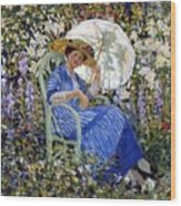 In The Garden Wood Print by Frederick Carl Frieseke