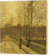 In The Golden Gloaming Wood Print by John Atkinson Grimshaw