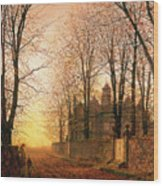 In The Golden Olden Time Wood Print by John Atkinson Grimshaw