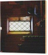 In The Lattice-windowed Attic Wood Print