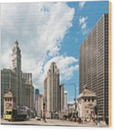 In The Middle Of Wacker And Michigan Wood Print