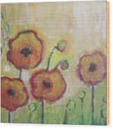 Poppies At Dusk Wood Print