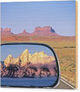 In The Rear View Mirror Wood Print