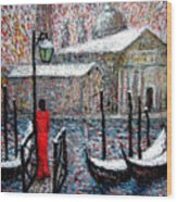 In The Snow In Venice Wood Print