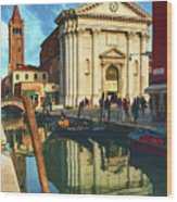 In The Waters Of The Many Venetian Canals Reflected The Majestic Cathedrals, Towers And Bridges Wood Print
