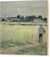 In The Wheatfield At Gennevilliers Wood Print by Berthe Morisot