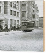 In This 1913 Photo, A Cable Car Drives Past The Littlefield Building And Dristill Hotel On Sixth Str Wood Print