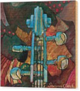 In Tune - String Instrument Scroll In Blue Wood Print
