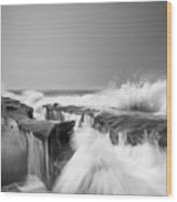Incoming  La Jolla Rock Formations Black And White Wood Print