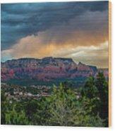 Incoming Storm Over Sedona Wood Print
