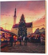 Incredible Christmas Market In Tallinn, Estonia Wood Print