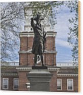 Independence Hall And Commodore Barry Wood Print