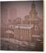 Independence Hall In The Snow Wood Print
