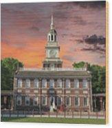 Independence Hall Philadelphia Sunset Wood Print