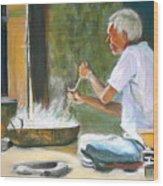 India - Street Side Cooking Wood Print