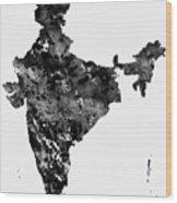 Map Of India-black Wood Print