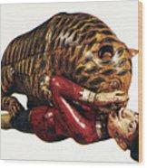 India: Tiger Attack Wood Print