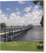 Indialantic Pier On The Indian River Lagoon In Central Florida Wood Print