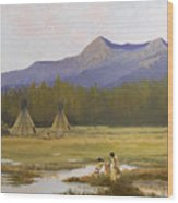 Indian Camp Wood Print