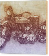Indian Chief 2 - 1922 - Vintage Motorcycle Poster - Automotive Art Wood Print