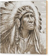 Indian Chief With Headdress Wood Print