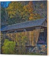 Indian Creek Covered Bridge In Fall Wood Print