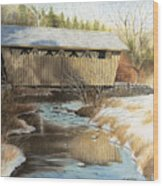 Indian Creek Covered Bridge Wood Print by James Clewell