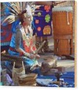 Indian Dancer Drummer 0650 Wood Print