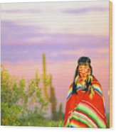 Indian Full Moon Southwest Sunset Wood Print