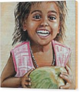 Indian Girl From The Slums Wood Print