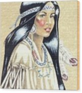 Indian Girl Wood Print