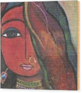 Indian Girl With Nose Ring Wood Print