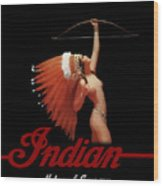Indian Motorcycle Company Pinline Wood Print