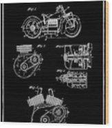 Indian Motorcycle Patent 1943 Black Wood Print