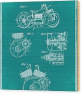 Indian Motorcycle Patent 1943 Green Wood Print