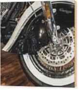 Indian Motorcycle Wheel Wood Print
