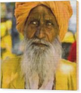 Indian Old Man Wood Print