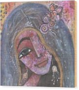 Indian Rajasthani Woman With Colorful Background  Wood Print