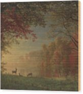 Indian Sunset Deer By A Lake Wood Print
