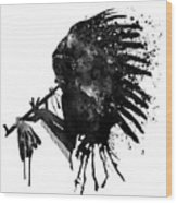 Indian With Headdress Black And White Silhouette Wood Print
