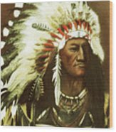 Indian With Headdress Wood Print by Martin Howard