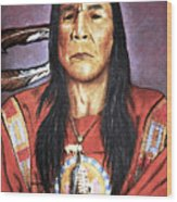 Indian With Rifle Wood Print by Martin Howard