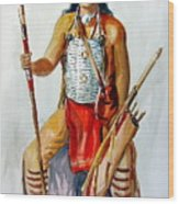 Indian With Spear And Arrows Wood Print