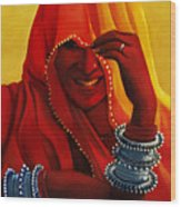 Indian Woman In Veil Wood Print
