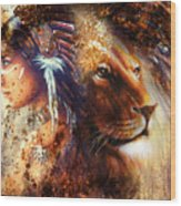 Indian Woman Wearing  Feather Headdress With Lion And Abstract Color Collage Wood Print